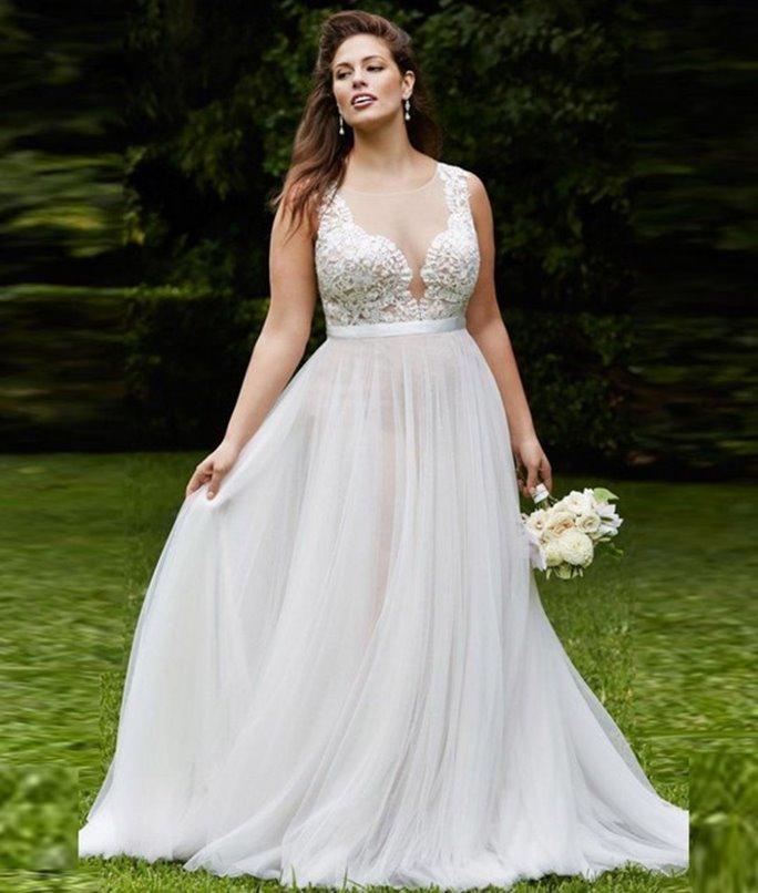 Long Dress Pernikahan Kerah V untuk Wanita Berbadan Gemuk